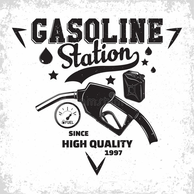 Vintage filling station emblem design royalty free stock photo
