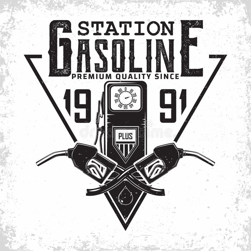 Vintage filling station emblem design royalty free stock photography