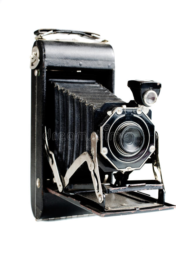 Vintage Film Camera. On white. Side view, close up stock photo