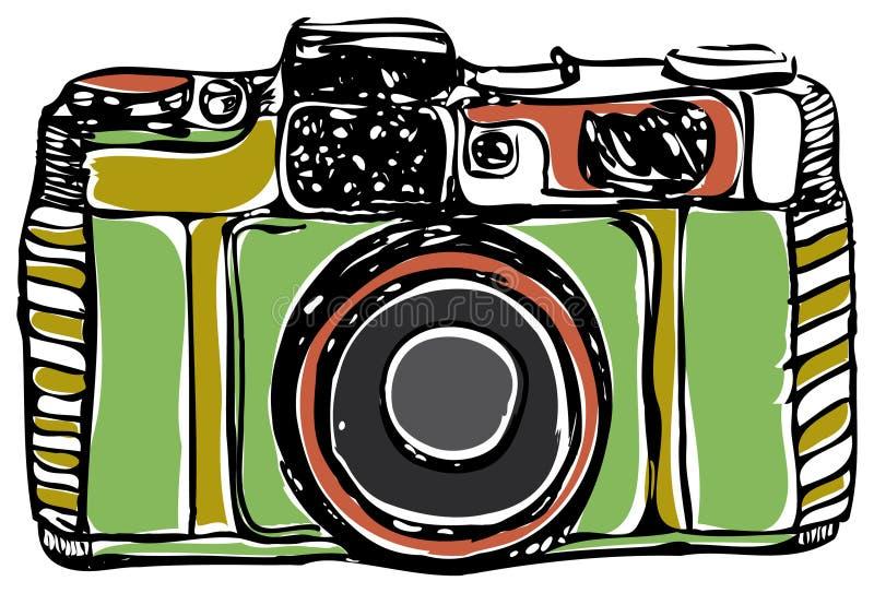 Vintage film camera, black outline, on a white background, vector illustration