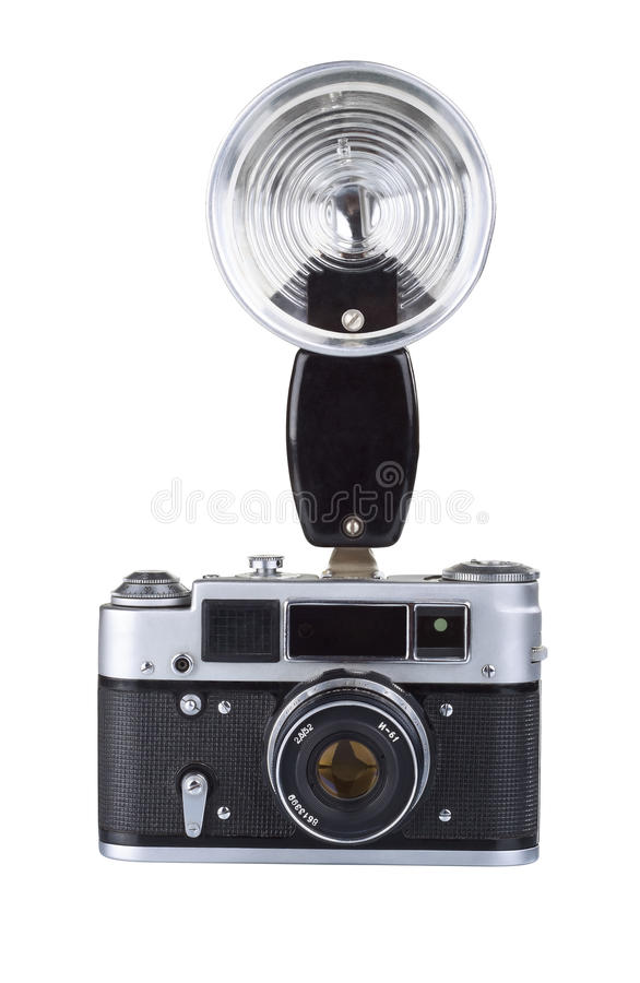 Download Vintage Film Camera With Flash Stock Photo - Image of antiquated, individuality: 21034070