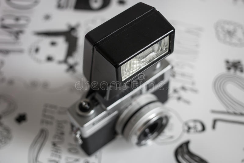 Vintage film camera. With flash royalty free stock images