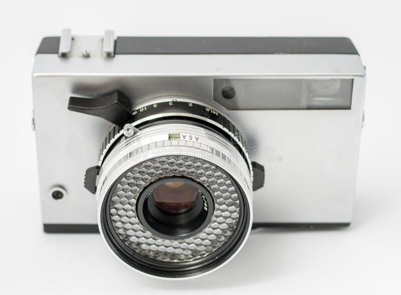 Vintage film camera isolated on white background.  royalty free stock images