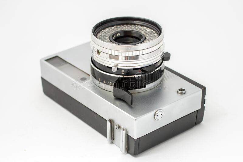 Vintage film camera isolated on white background.  stock photos