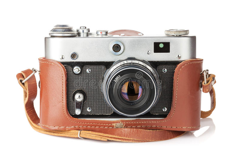 Vintage film camera with leather case royalty free stock images