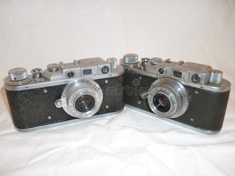 Vintage film camera.Made in the USSR. stock photography