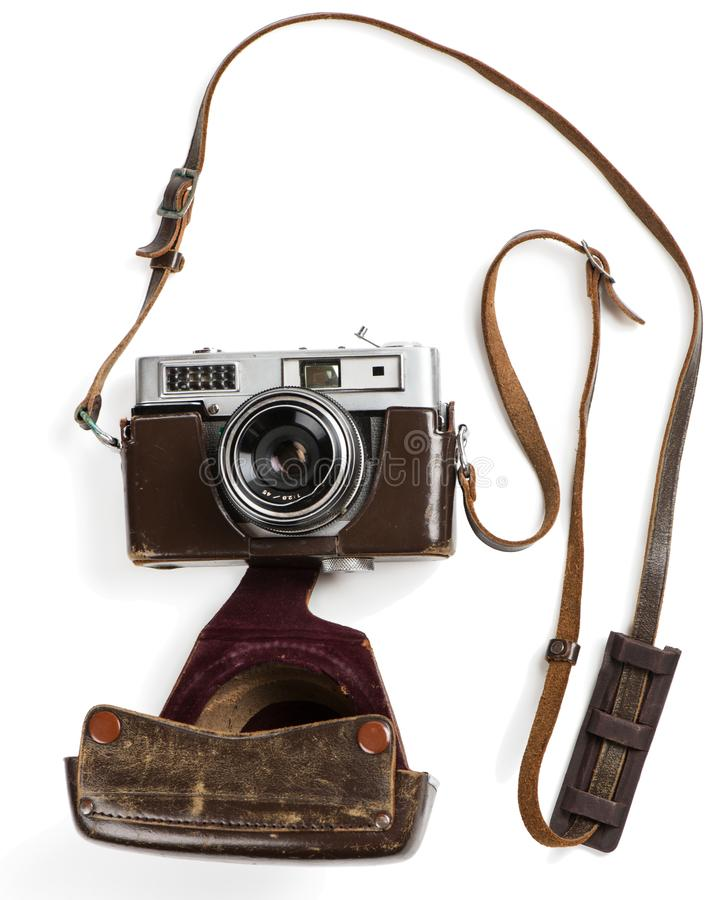 Vintage film photo-camera in case, above view. stock photo