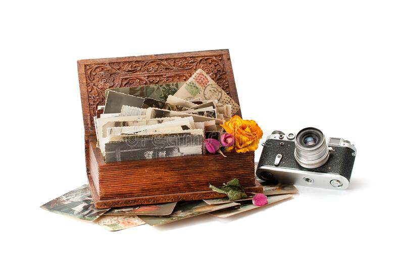 Vintage film photo-camera and old family photos. Stacked in wooden box isolated on white background royalty free stock images