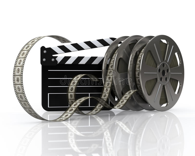 Vintage film reels and film state stock illustration
