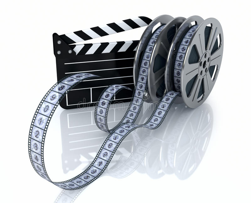 Vintage film reels and film state royalty free illustration