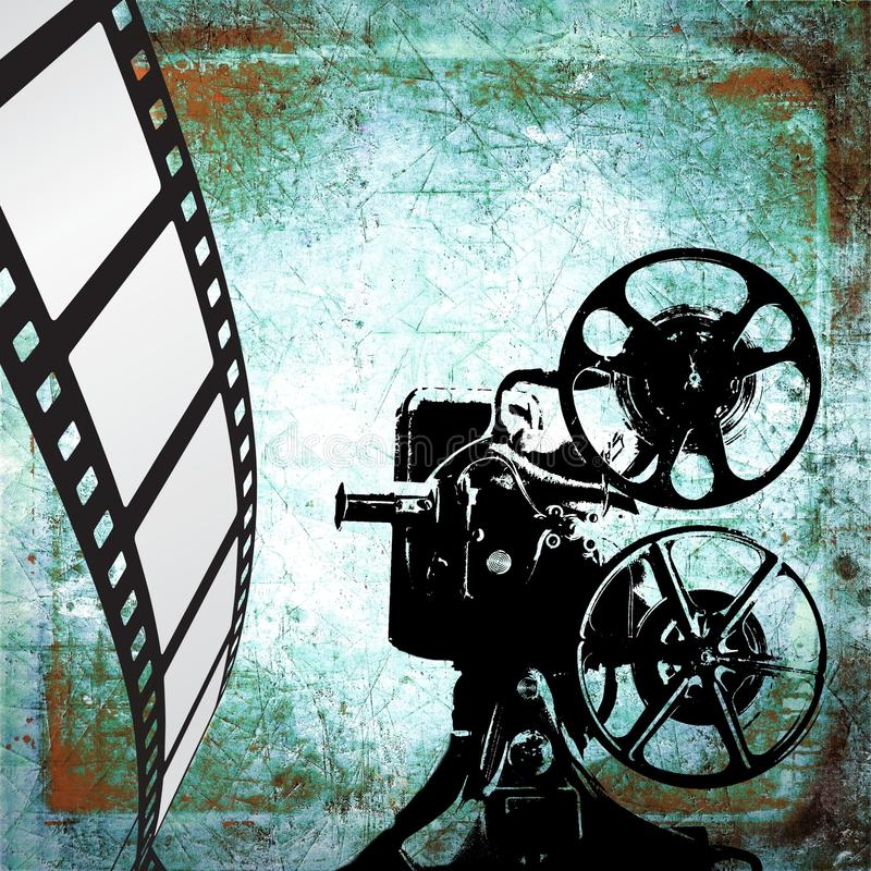 Vintage film strip background and old projector stock photography