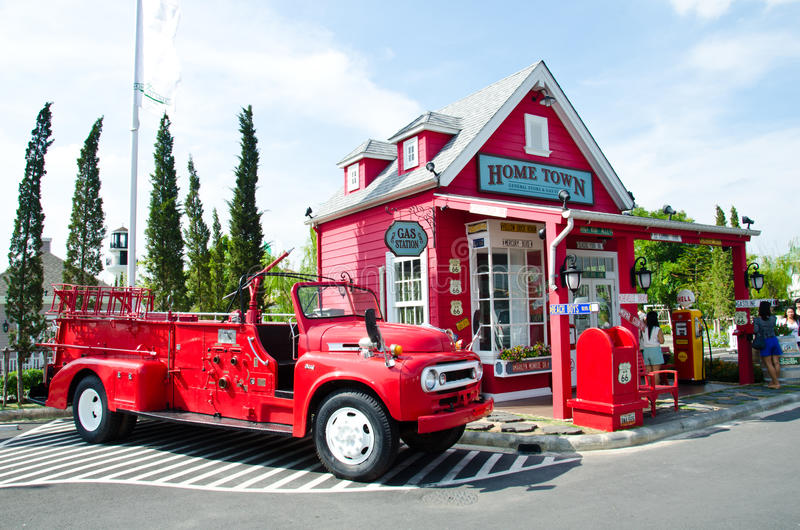 Vintage fire truck. BANGKOK - MAY 19: The old fire vehicle be parked in the old gas station that was built for tourists on May 19, 2012 in Bangkok, Thailand stock photos