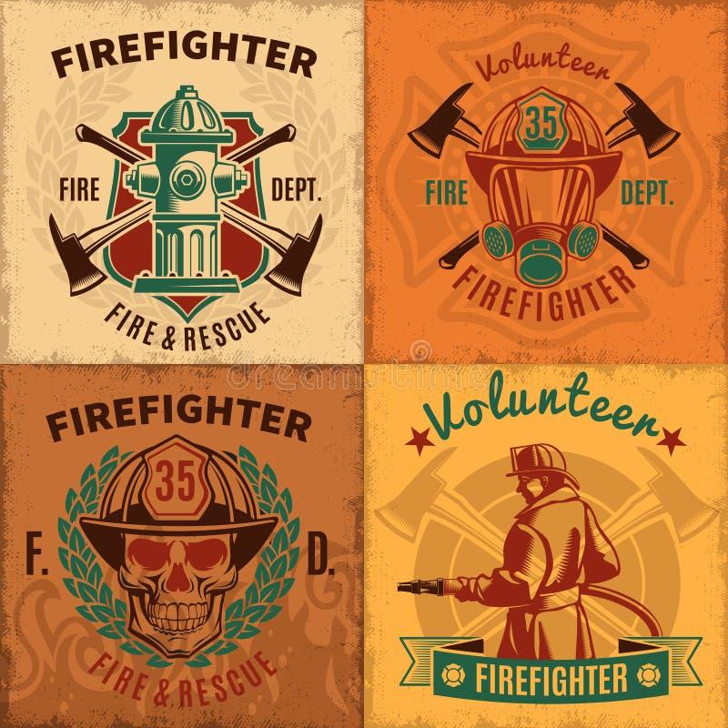 Vintage Firefighting Emblems Set vector illustration