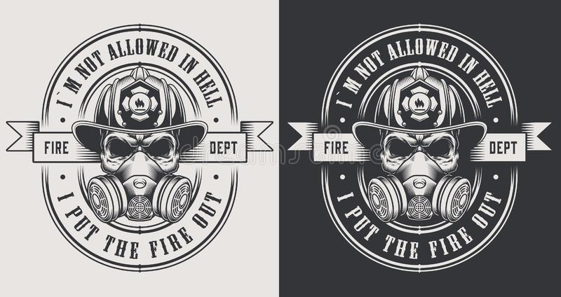 Vintage firefighting monochrome logos royalty free illustration