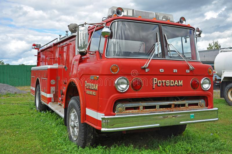 Vintage Firetruck in Potsdam, New York, USA stock photos
