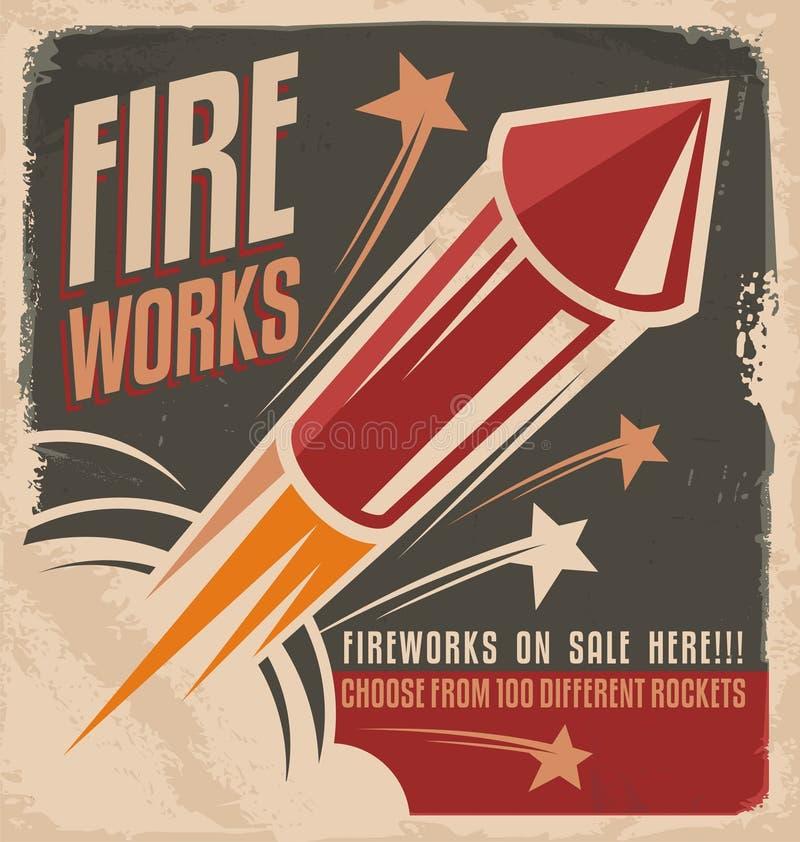 Vintage fireworks poster design royalty free illustration