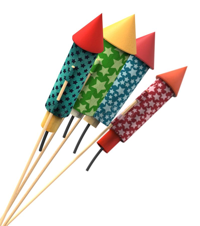 Vintage fireworks rockets vector illustration