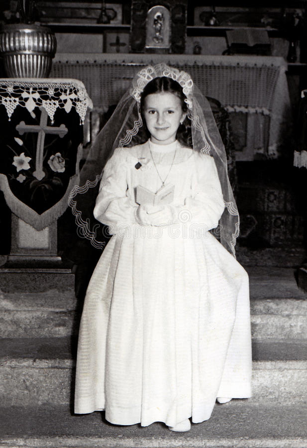 Vintage First Communion stock photos