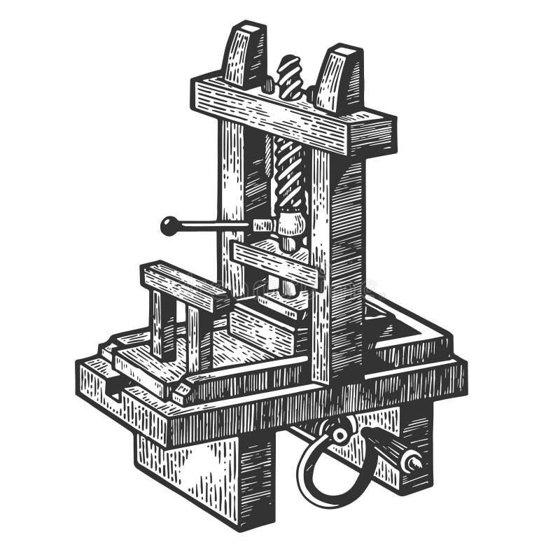 Vintage printing press sketch engraving vector. Vintage first printing press sketch engraving vector illustration. Scratch board style imitation. Hand drawn royalty free illustration