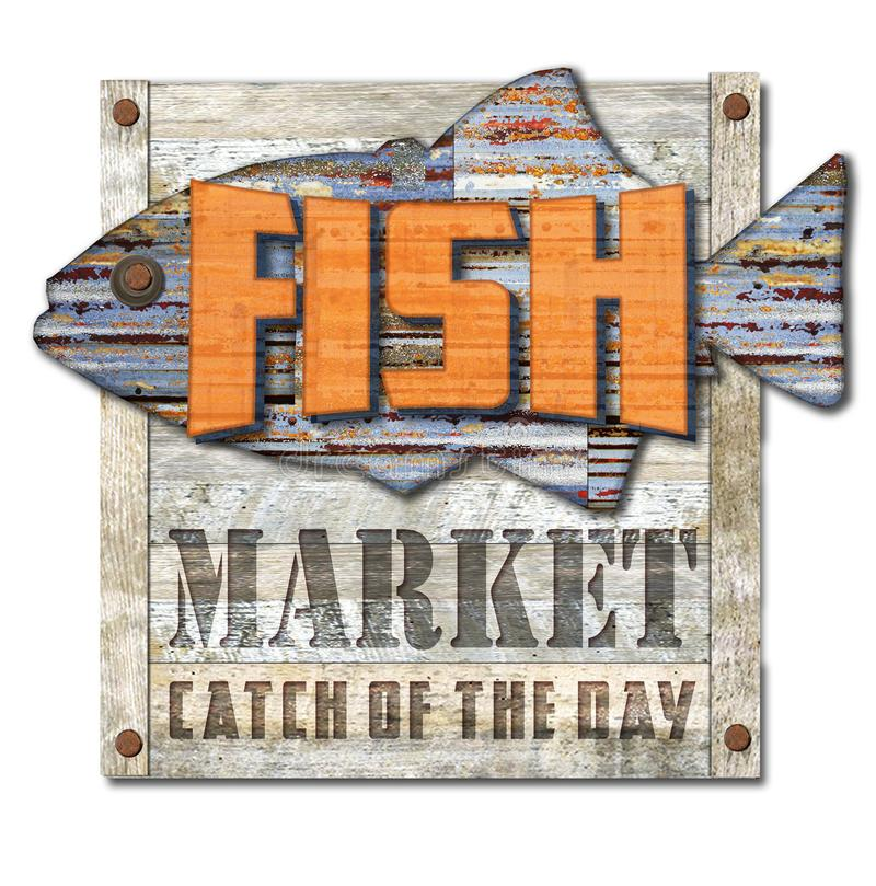 Vintage Fish Market Sign. Logo with Catch of the day with rusted metal fish on old wooden planking royalty free stock photos