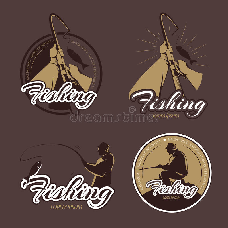 Vintage fishing club vector emblems and labels stock illustration