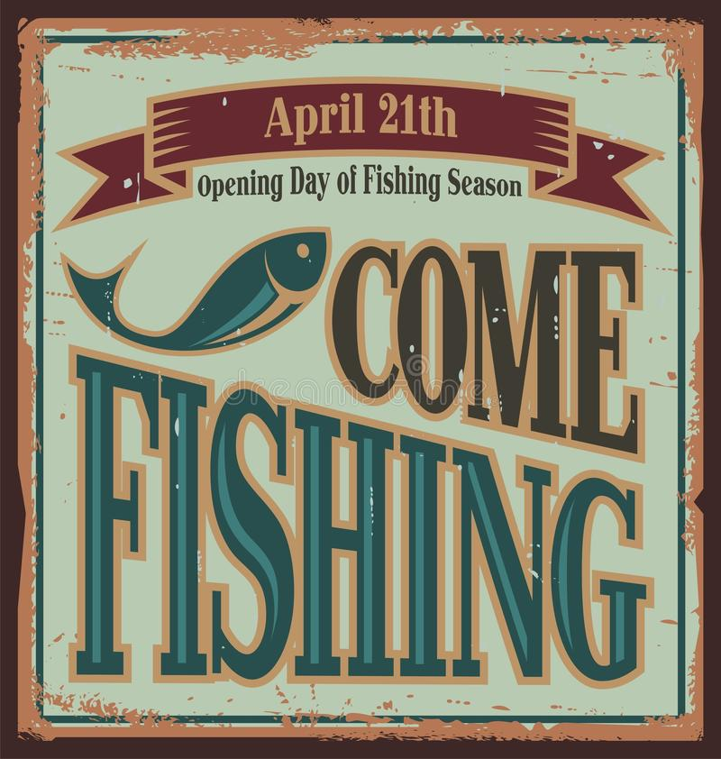 Vintage fishing metal sign stock vector illustration of for Vintage fishing signs