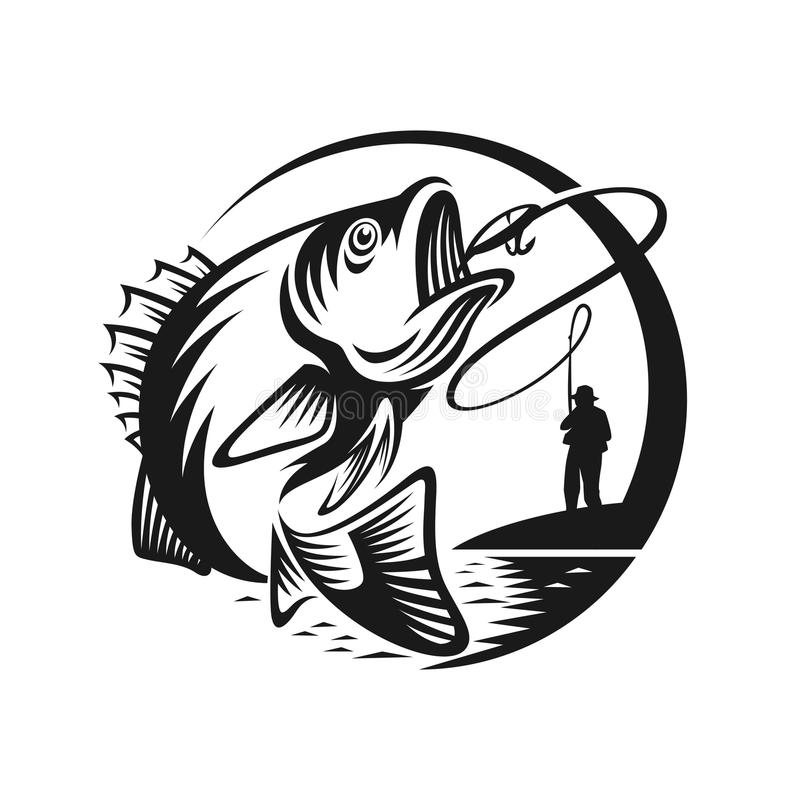 Bass fishing logo template illustration. Vintage fishing sport emblems, labels and design elements. Vector illustration