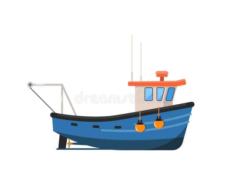 Vintage fishing trawler isolated on white icon. Side view commercial fishing vessel for industrial seafood production vector illustration vector illustration