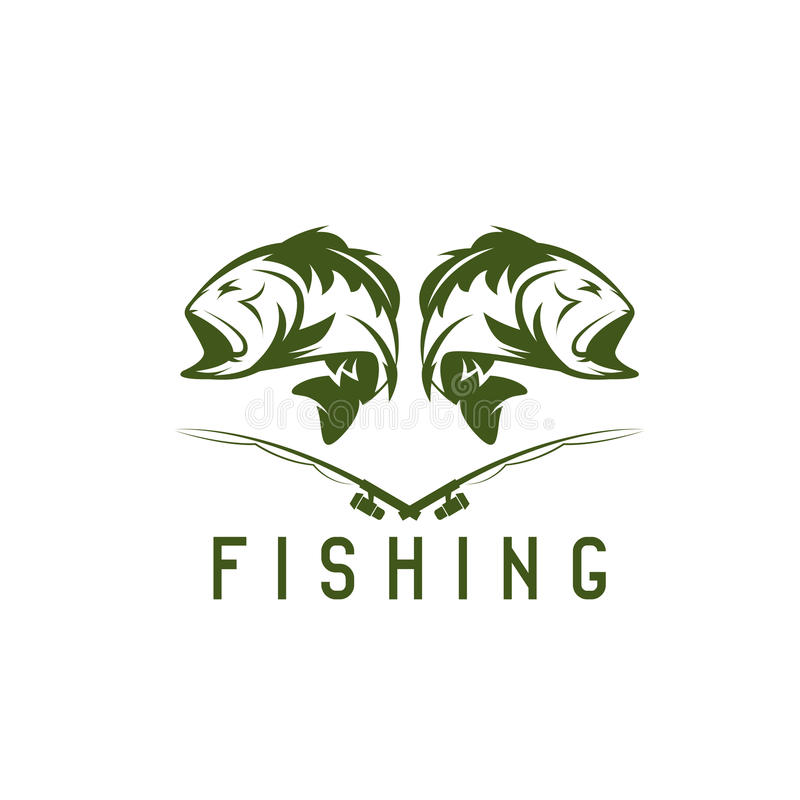 Vintage fishing vector design template royalty free illustration