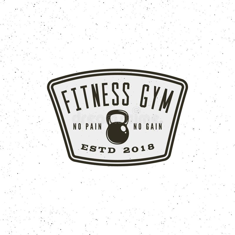 Vintage fitness gym logo. retro styled sport emblem. vector illustration stock illustration