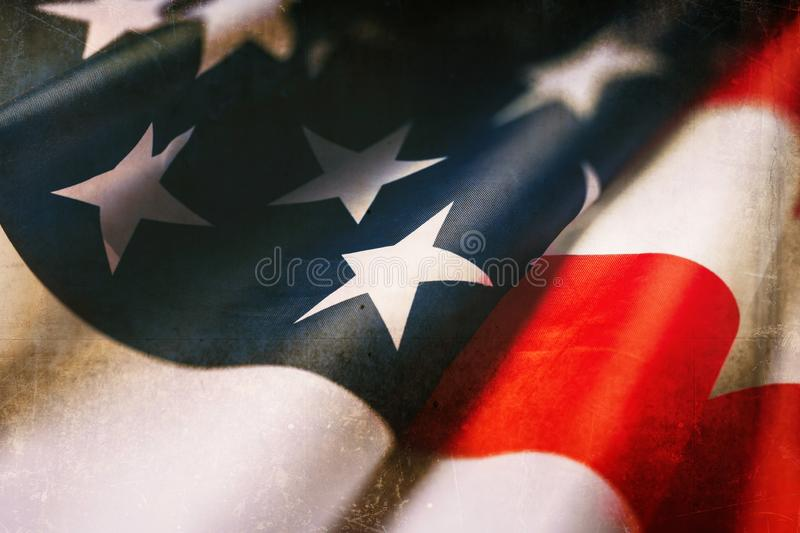 A vintage flag of the United States of America for Veteran`s day royalty free stock photo
