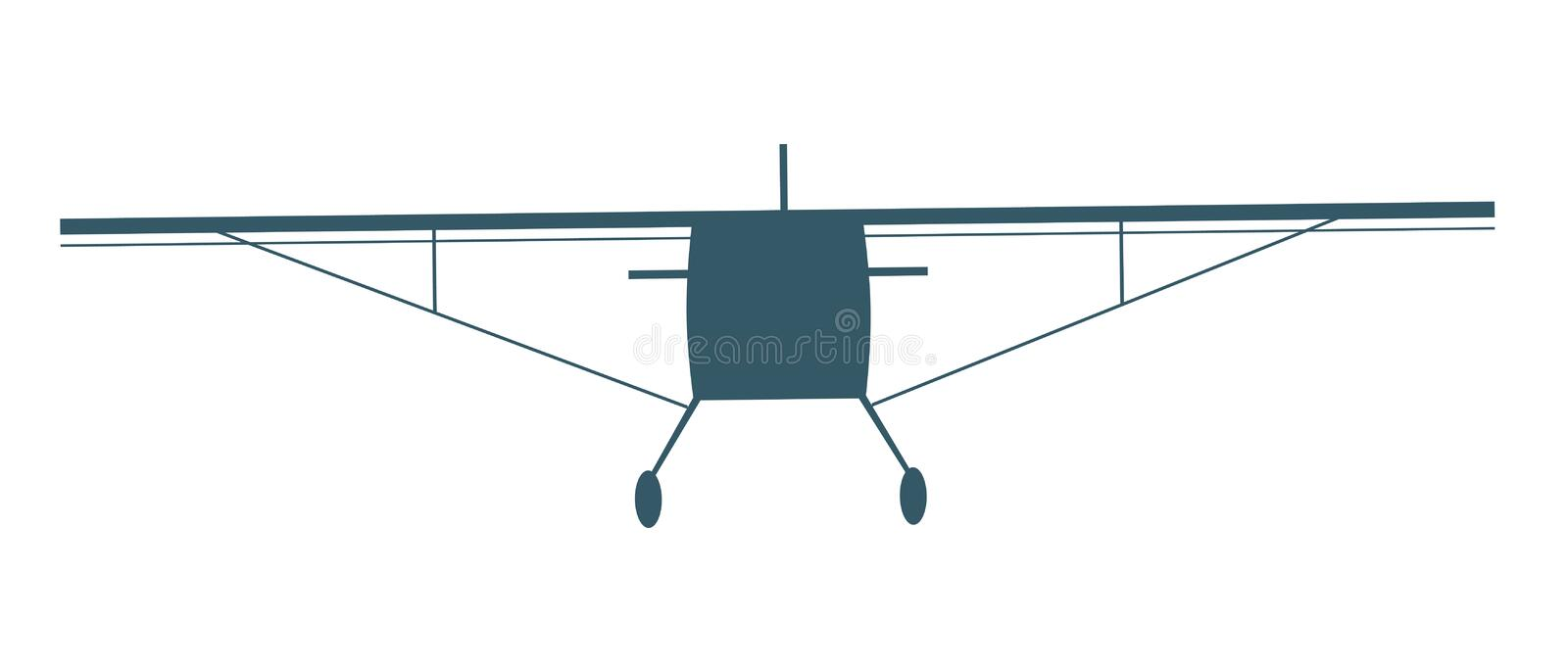 A plane silhouette isolated on white background for design, a vintage vector stock illustration with retro airplane with wings and vector illustration