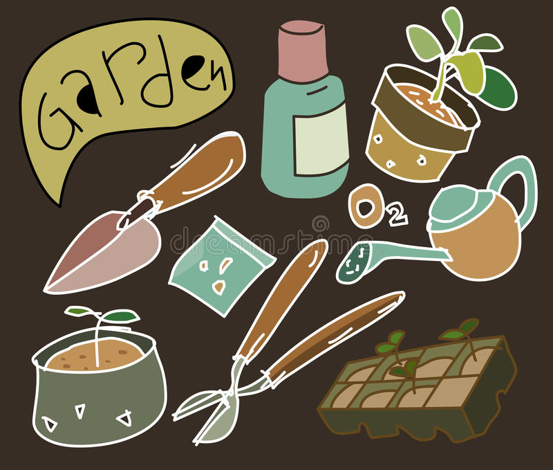 Download Vintage Flat Gardening Vector Stock Vector - Image: 38341815