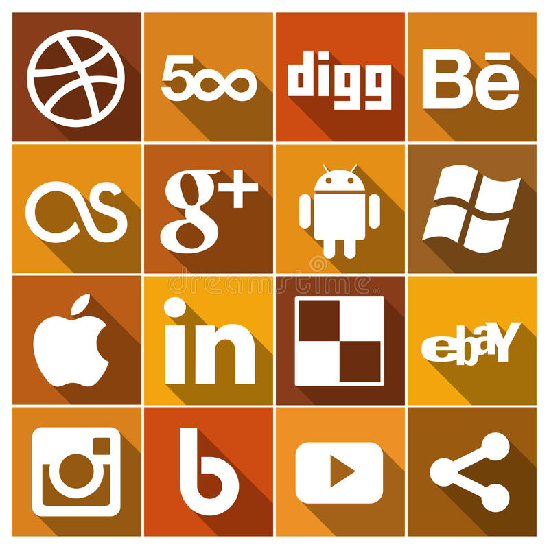 Vintage Flat social media Icons Set 2. Set of different social media icons in vintage brown shades royalty free illustration
