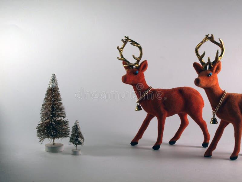 Vintage Flocked Plastic Reindeer Isolated on White Background stock photography
