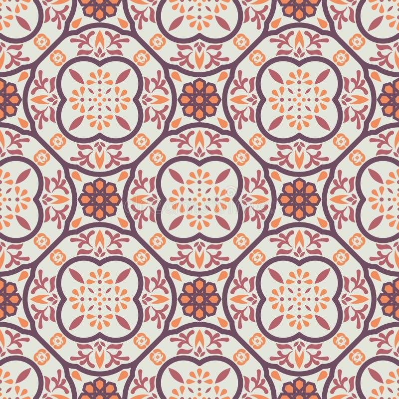 Vintage floor tiles ornament purple vector pattern print. Neutral colors geometric floral hexagonal seamless backdrop stock illustration