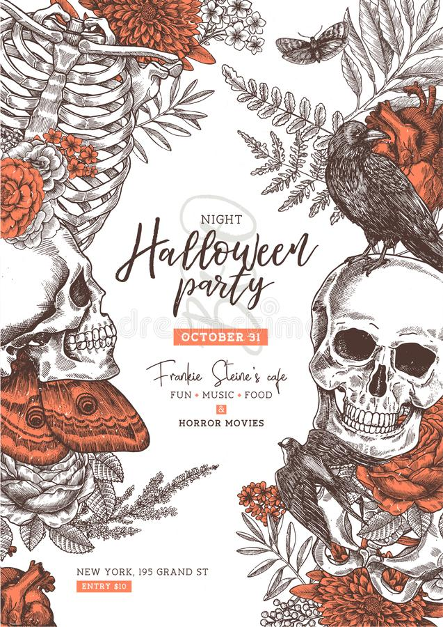 Halloween party poster. Vintage floral anatomy background. Vintage floral anatomy background. Halloween party poster royalty free illustration