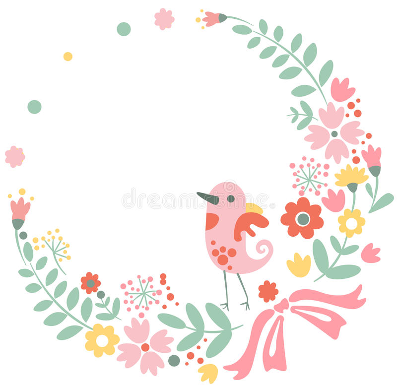 Vintage floral background with cute bird in pastel stock illustration