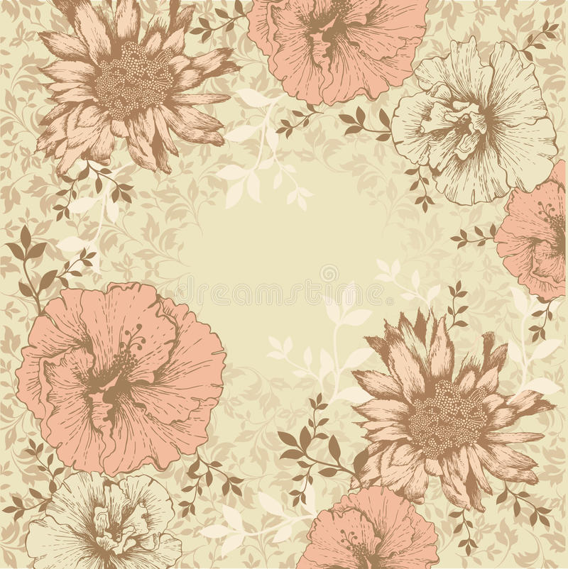 Vintage floral background with flowers stock illustration