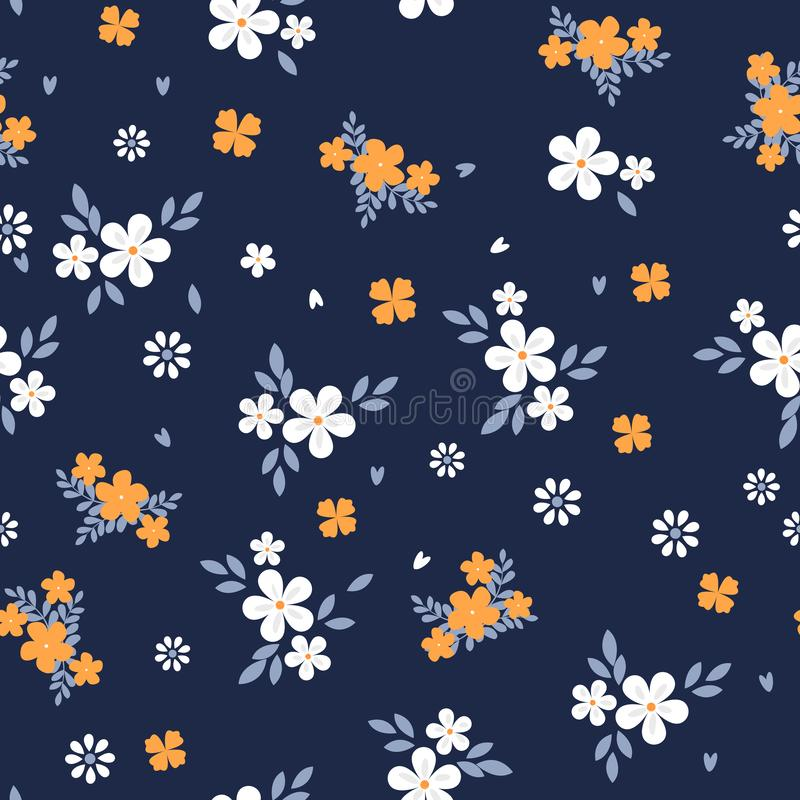 Vintage floral background. Seamless vector pattern for design and fashion prints. Flowers pattern with small white and vector illustration