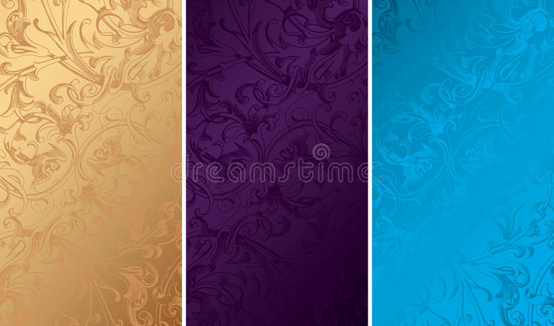 Download Vintage Floral Background Textures Stock Vector - Illustration of metal, blue: 10948714