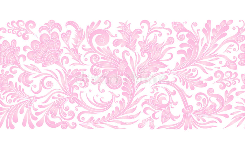 Vintage floral baroque seamless border with blooming magnolias, rose and twigs, roses vector illustration, flower royalty free illustration
