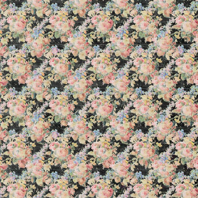 Vintage Floral black and pink roses repeat background shabby chic style stock illustration