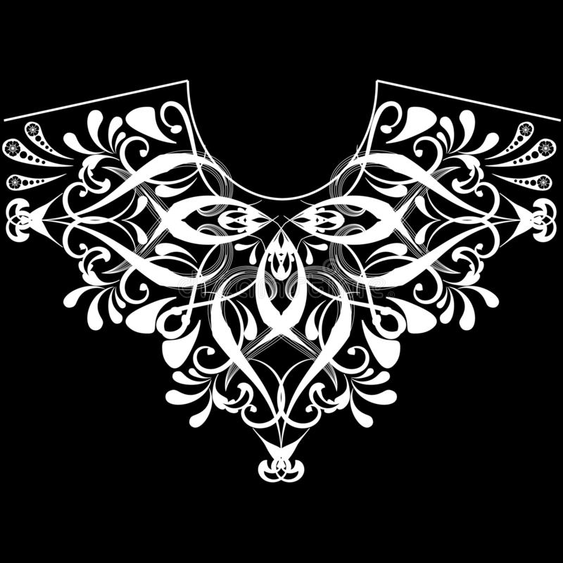 Vintage floral black and white neckline pattern. Vector ornamental feminine fashion background. Ethnic style neck line ornament. With Paisley flowers, swirl stock illustration