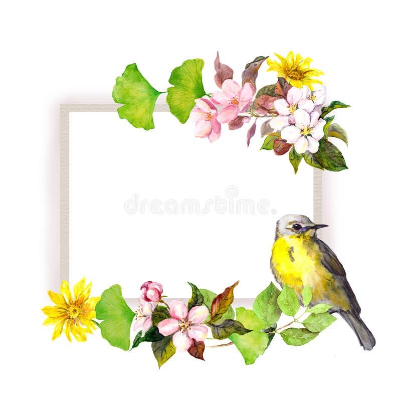 Vintage floral border - flowers and bird. Watercolor frame stock illustration