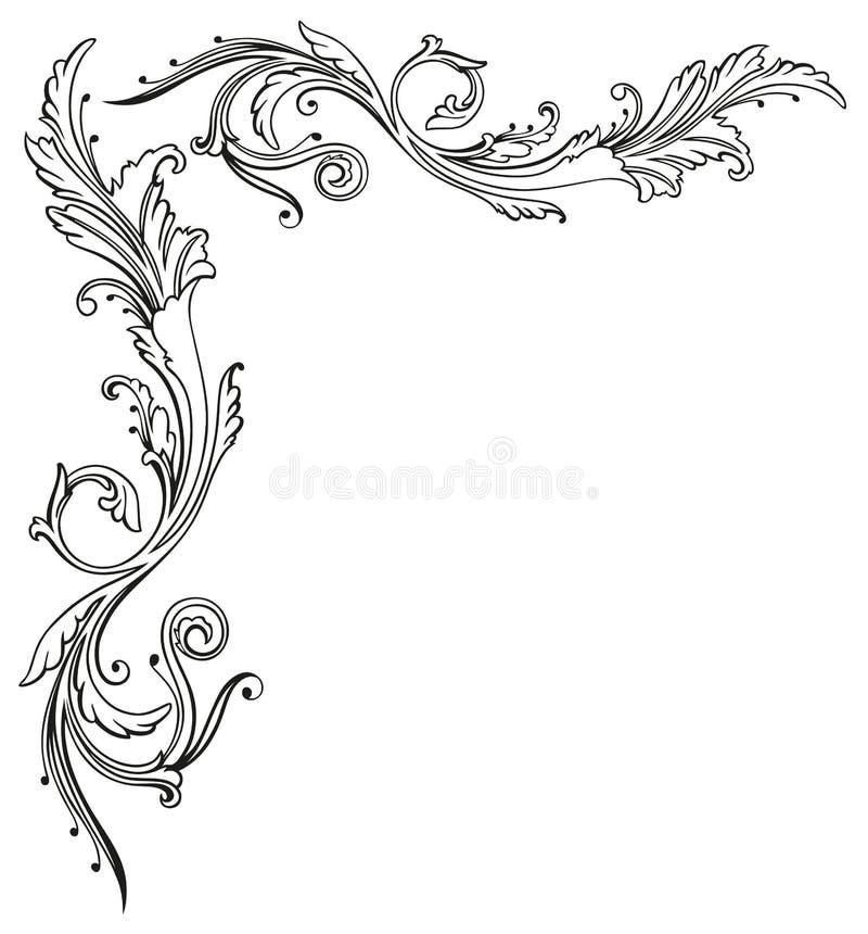 Vintage, floral, border. Vintage tendril, floral and filigree border stock illustration