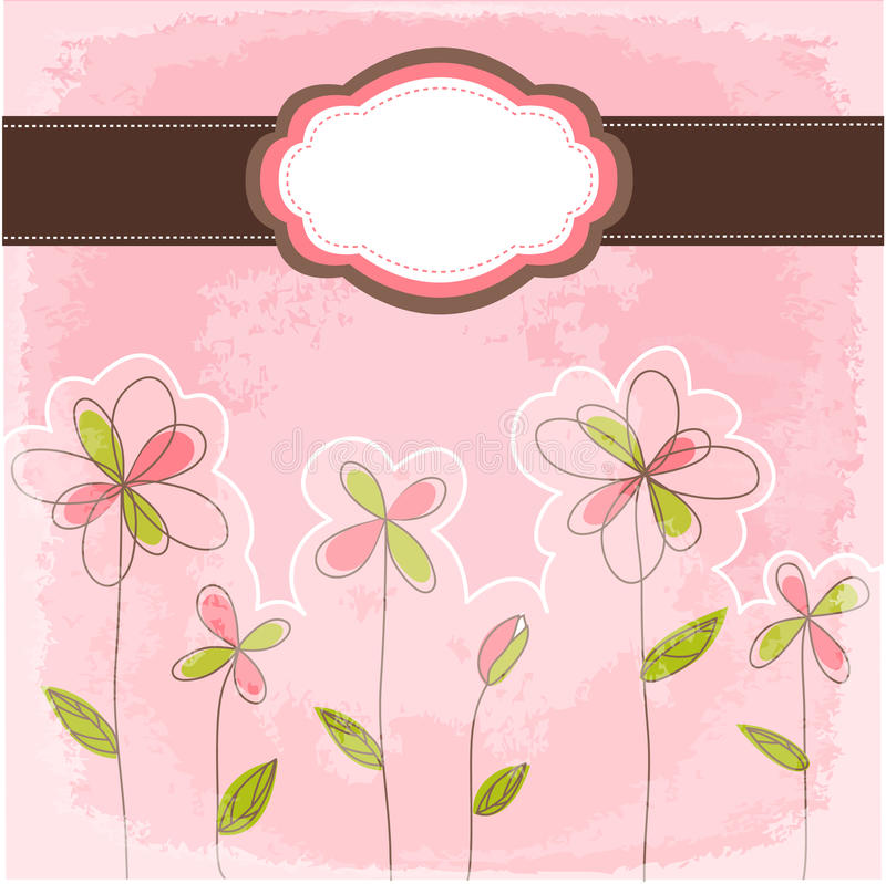 Vintage floral card with frame vector illustration
