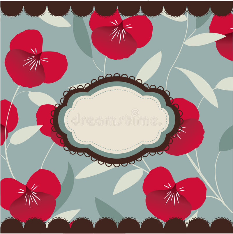 Vintage floral card with frame stock illustration