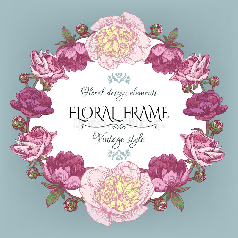 Vintage floral card with a frame of white and purple peonies and persian buttercup. royalty free illustration