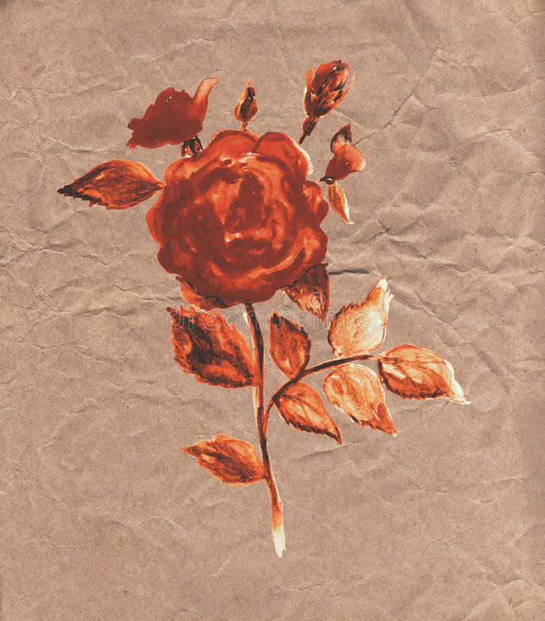 Vintage floral card. With old paper texture stock illustration